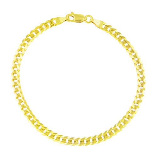 Genuine 14K Yellow Gold SOLID Mens/Women 4mm Cuban Curb Chain Link Bracelet 8""