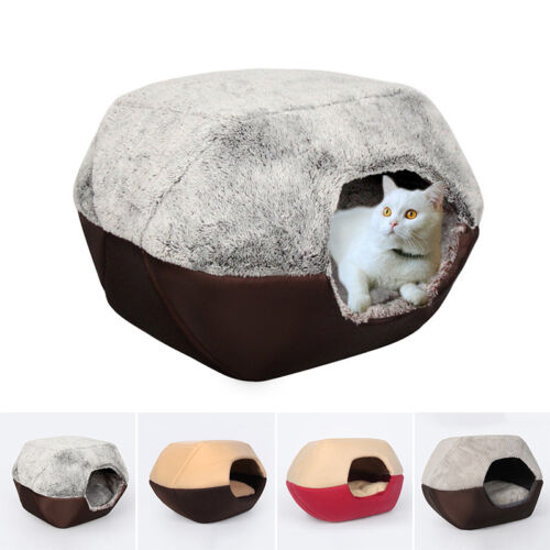 Pet Cat Dog Puppy Bed Soft Warm Cave House Sleeping Bag Mat Pad Warm Cushion #V#