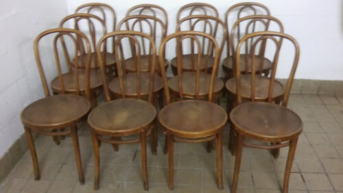 Set of 12 Antique Thonet Bent Wood Chairs some Partial Original Factory Label