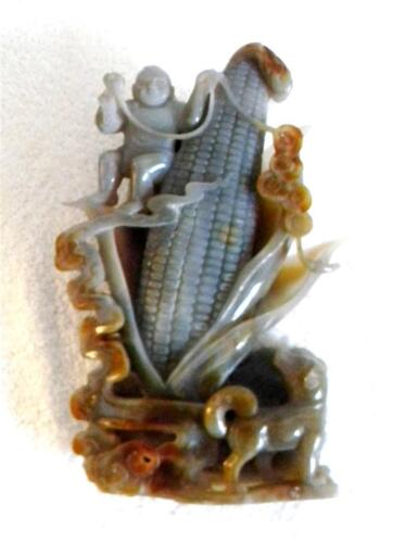 Oriental large carved jade figurine - corn ear with figure - FREE SHIPPING