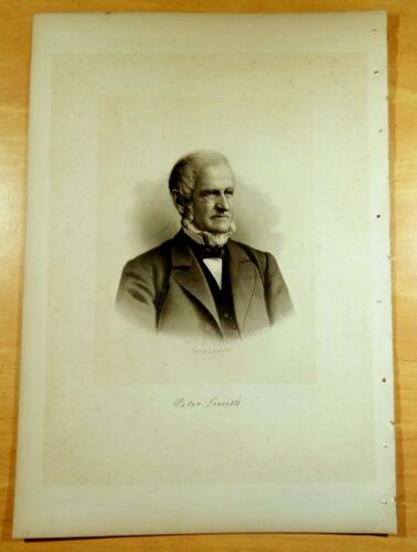 PETER SMITH Andover, Massachusetts MA Steel Engraving Portrait 1888 Print