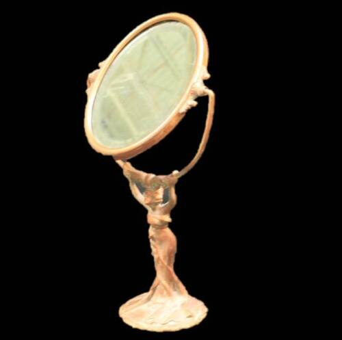 Brass Vanity Mirror Copper Patina Art Nouveau Woman Holding Mirror