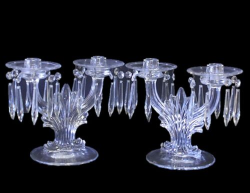 2 Antique Double Candlesticks with Prisms Clear Glass Removable Wax Catcher