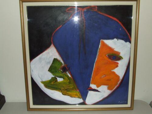 Beautiful Framed & Matted Abstract Face/Mask Painting signed Nichols 1985