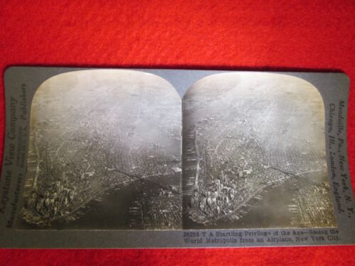 The World Metropolis From An Airplane , New York City  Stereoview