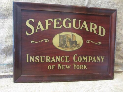 Vintage Framed Safeguard Insurance Co Sign > Antique Metal Signs Wood Frame 9524
