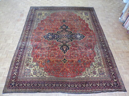 10'5 X 13'8 Hand Knotted Rust Antique Persian Ferahan Sarouk Oriental Rug G1697