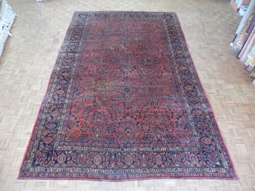 10'4 X 16'6 Hand Knotted Red Antique Persian Sarouk Oriental Rug G1930