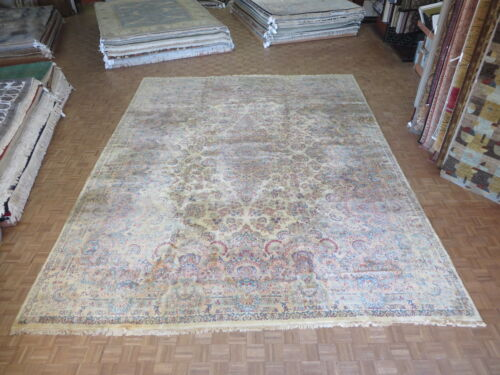 14 X 18 Hand Knotted Beige Antique Kerman Persian Oriental Rug G2847