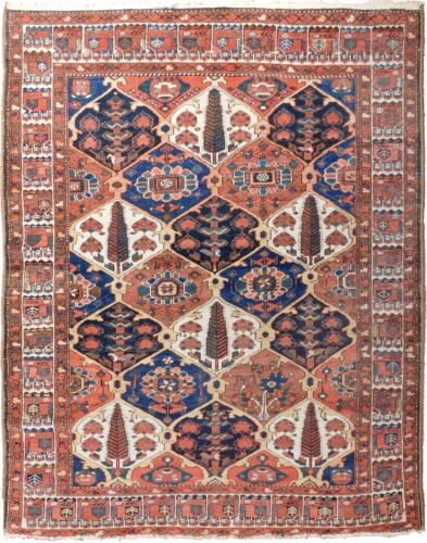 """Genuine hand knotted authentic antique area rug. Garden panel. 5'x 6'3"""""""