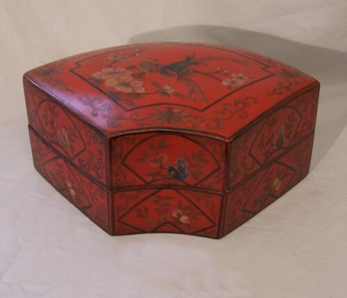 Japanese Meiji red lacquer fan dresser storage box c1880 hand painted flowers