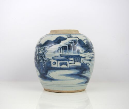 A Chinese Blue and White 'Landscape' Jar, 18th Century