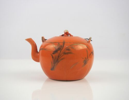 A Chinese Coral Red Glazed Gilt Teapot, 19th Century