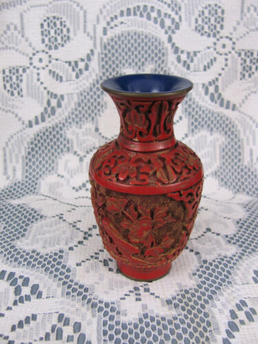"Vintage Asian China Hand Carved Red Cinnabar Vase 4 1/8"" High Blue Inside"