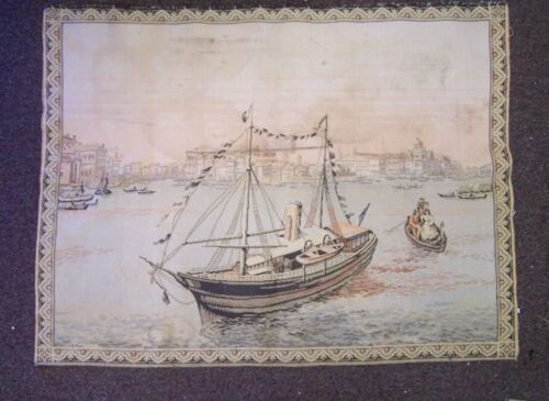 """Vintage Early 1900s French Tapestry Boating Seaport Scene made in France 40""""x36"""""""