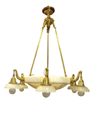 1900 Belle Epoque French Gilt Bronze & Alabaster Six-Light Chandelier