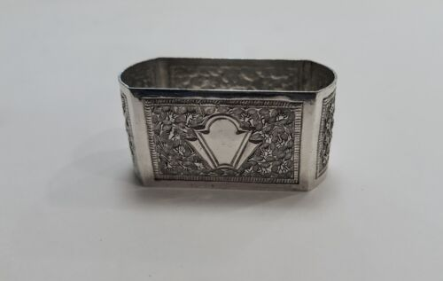 Antique Anglo Indian Colonial Silver Napkin Ring Marked Silver Nice Handwork