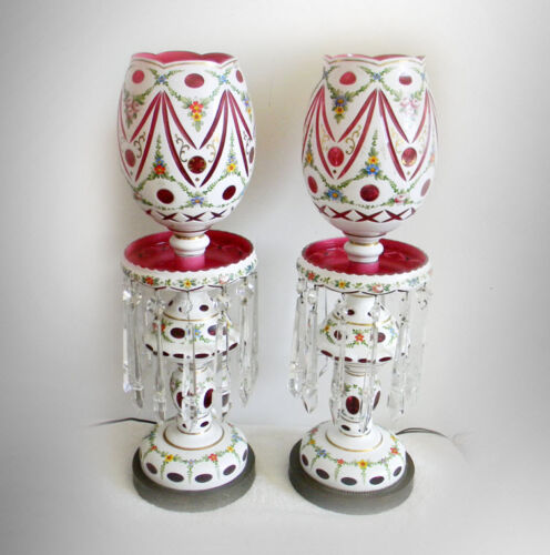 "Bohemia Moser PAIR 24"" TALL  luster lamps - white cut to cranberry FREE SHIP"
