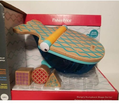 Fisher Price Wooden Beech Wood Toy Hungry Humpback Whale Shapes PreK New