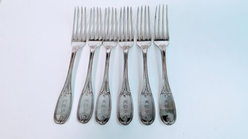 6 DINNER FORKS  MULFORD WENDELL & CO ALBANY NY COIN SILVER