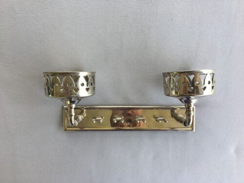 Antique Nickel Brass Double Cup Tooth Brush Holder Vtg Bathroom Old 78-18J