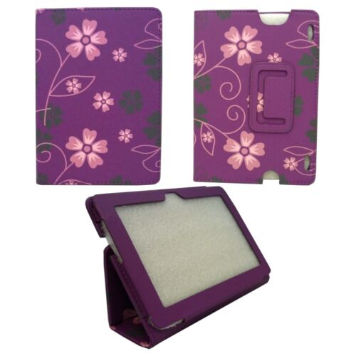 CASE FOR AMAZON KINDLE HDX PURPLE PINK AND GREY FLOWER SWIRL PU LEATHER COVER