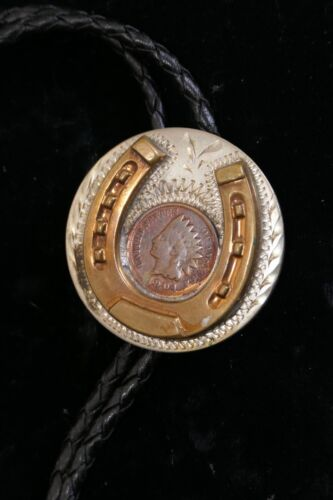 ANTIQUE INDIAN HEAD 1904 PENNY WESTERN BOLLO TIE WITH HORSESHOE