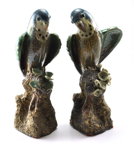 Vintage Chinese LOVE PARROTS Couple Shiwan Clay Statue Porcelain Bird Handmade