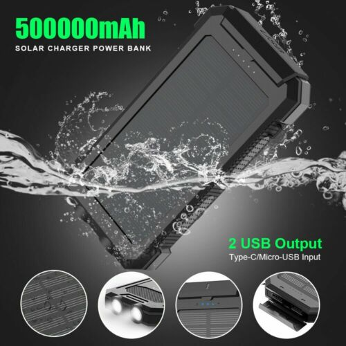 500000mAh Dual USB External Solar Power Bank LED Battery Charger for Cell Phone