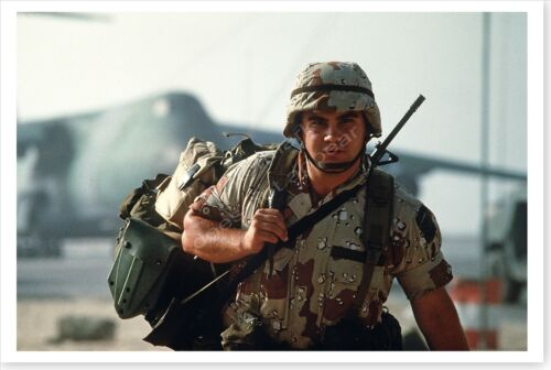A Soldier With Gear Arriving In Saudi Arabia Operation Desert Shield 8x12 PhotoReproductions - 156449