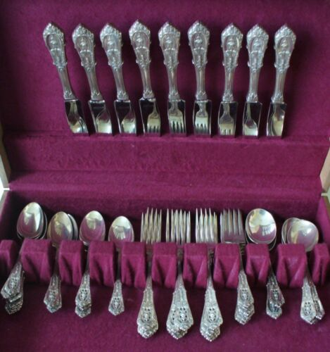 Wallace sterling silver - Rosepoint design - 47 pieces