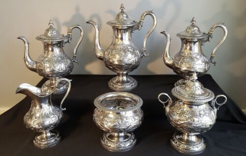 Monumental R & W Wilson 6-piece Repousse Coin Silver Coffee Service Philadelphia