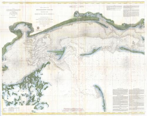 1866 Coastal Survey map Chart the Mississippi Sound Western Part
