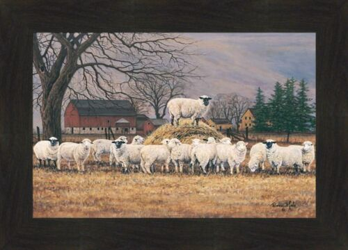 WOOL GATHERING by Bonnie Mohr 16x22 FRAMED WALL ART PICTURE Sheep Lambs Hay Pile