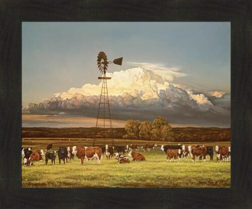 SUMMER PASTURES by Bonnie Mohr 20x24 FRAMED ART Cow Cattle Calves Herd Windmill