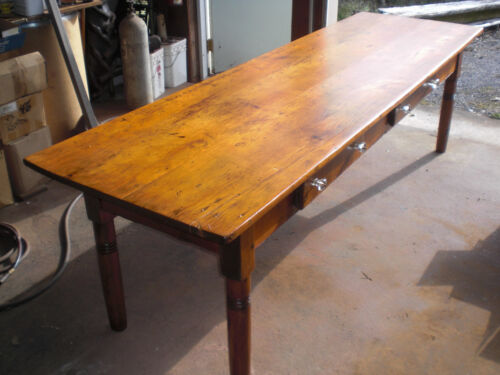 19th Century farm table with two drawers glass knobs beautifully refinished