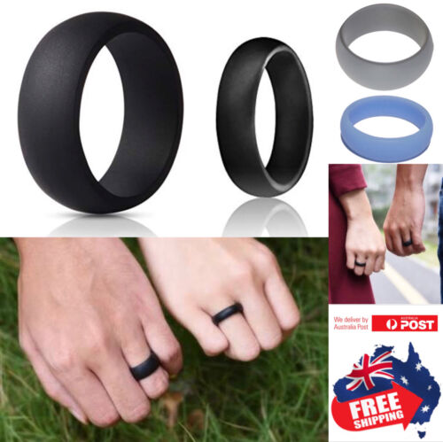 Silicone Rubber Wedding Ring Bands Flexible Comfortable Safe Work Sport Gym 1pc