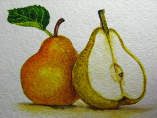 Watercolor Painting Yellow Pear Fruit Green Leaf Food Farm ACEO Art