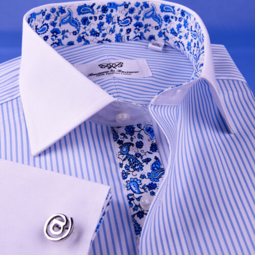 Formal Light Blue Floral Twill Stripe Dress Shirt Business Contrast French Cuff