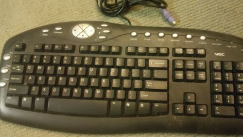 90s Vintage NEC Keyboard with Numeric Pad PC internet Black