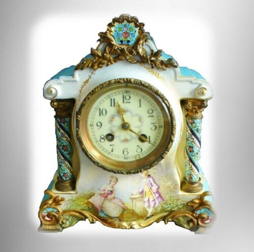 Sevres style French vintage hand painted porcelain clock - artist signed