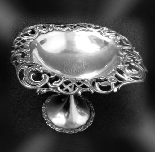 Wattles and Sons decorative sterling silver compote - decorative rim