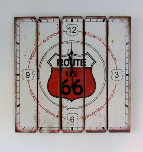 Large 57cm route 66 square wooden wall clock