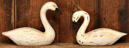 New Primitive Country Folk Art Carved Set 2 Goose Bent Neck Resin Swan Decoy