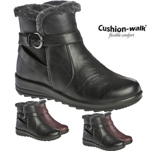 Ladies Cushion Walk Faux Leather Furlined Winter Ankle High Comfort Boots Shoes
