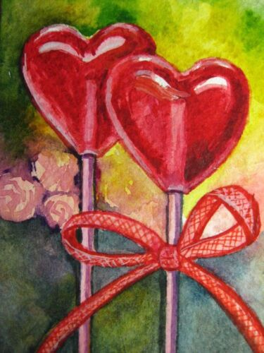 Watercolor Painting Red Heart Candies Love Valentine's Day Sweet Food ACEO Art .