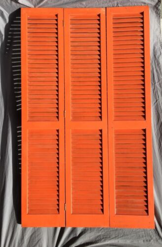 Vintage Orange Shutter Screen Louvered Room Divider 3 Panel Retro 14X72 210-18C