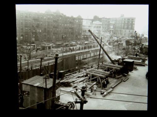 Magic Lantern Slide Subway Construction Kenmore Square Commonwealth Ave Boston