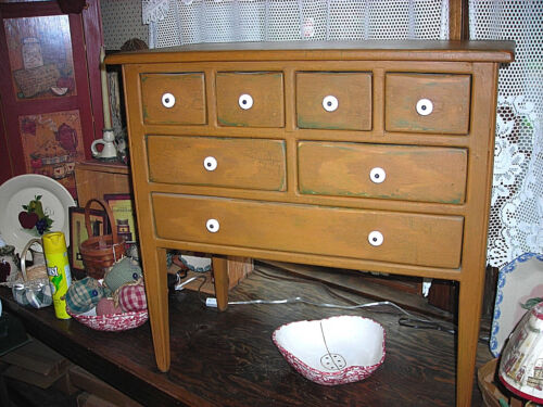Hand Crafted Primitive Reproduction Seven Drawer Shaker Style Sewing Cabinet