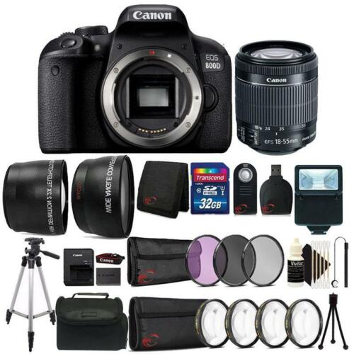 Canon EOS 800D / T7i 24.2MP DSLR Camera with 18-55mm Lens All You Need 32GB Kit